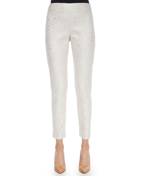 Lela Rose Metallic Flecked Straight-Leg Pants, Gold/Ivory