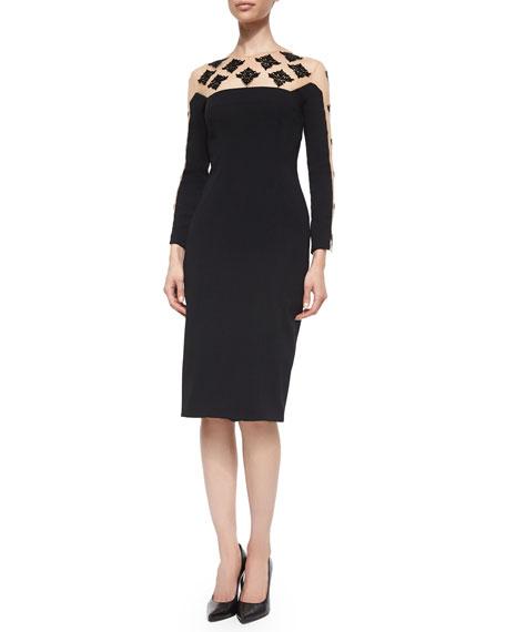 Lela Rose Long-Sleeve Beaded Cocktail Dress, Black