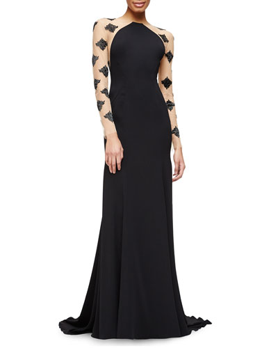 Damask Beaded Sheer-Inset Gown