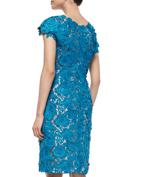 Floral-Lace Sheath Dress, Blue Metallic