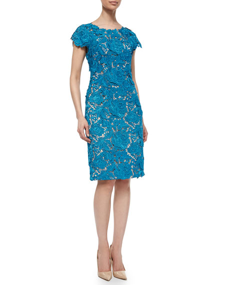 Lela Rose Floral-Lace Sheath Dress, Blue Metallic