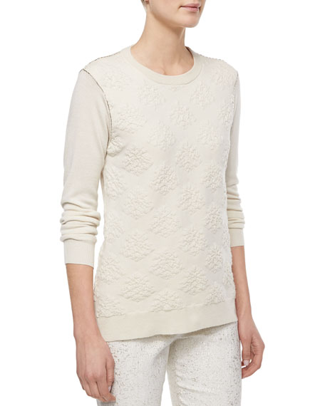 Lela Rose Textured Crewneck Sweater, Ivory
