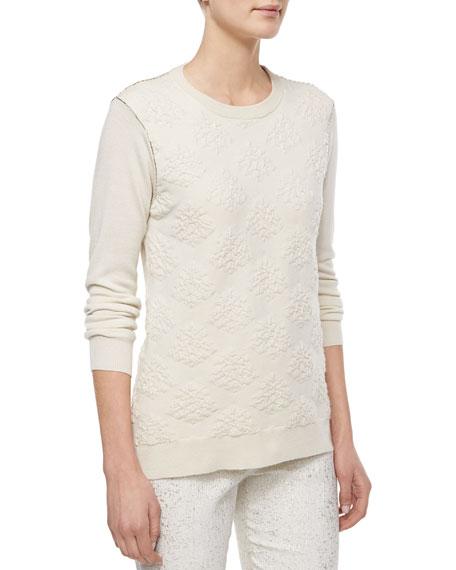 Lela Rose Textured Crewneck Sweater, Ivory