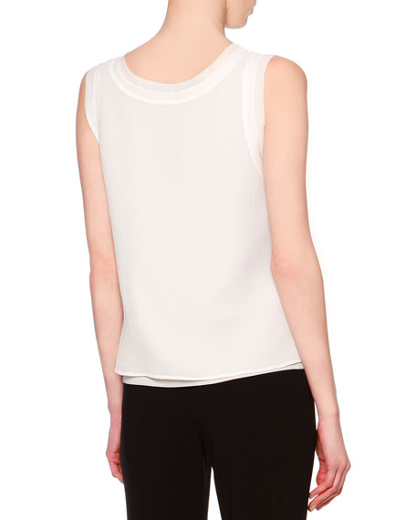 Sleeveless Layered Combo Blouse, White