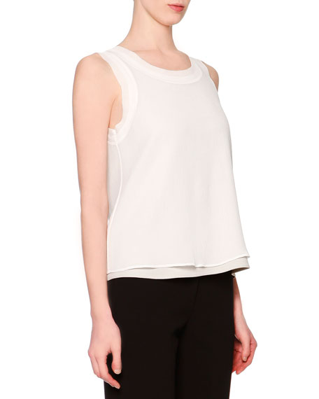 Giorgio Armani Sleeveless Layered Combo Blouse, White