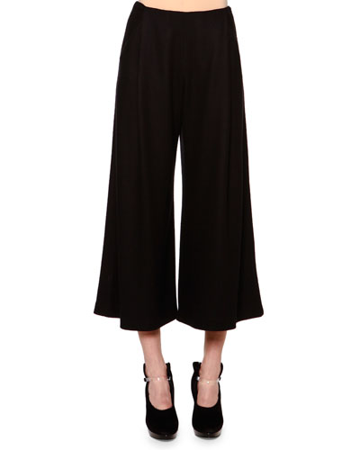 Cashmere-Blend Jersey Fold-Pleated Culottes, Black