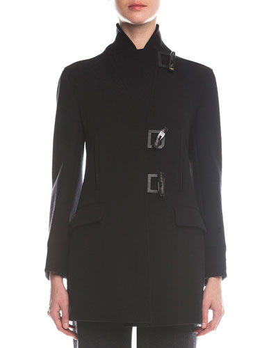 Leather-Trimmed Toggle Coat