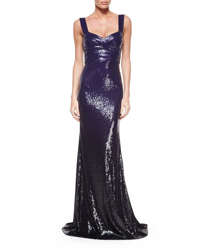 Sleeveless Ombre-Sequin Gown, Dark Purple