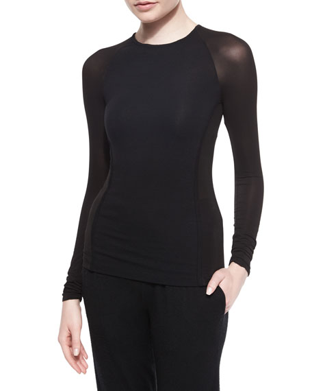 Donna Karan LS CREWNECK TOP W/ SHEER
