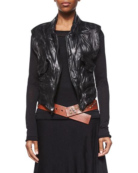 Donna Karan Leather Zip-Front Vest