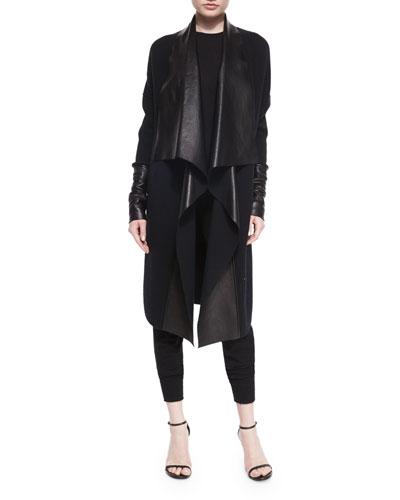 Draped Leather & Knit Coat
