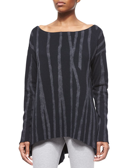 Donna Karan Variegated Needlepunch Boat-Neck Tunic