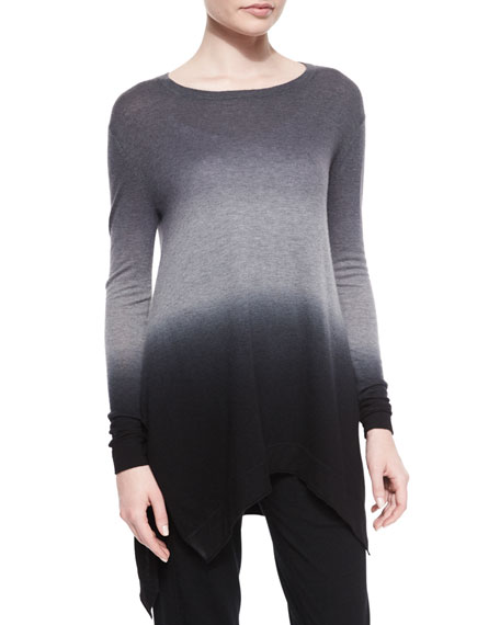 Donna Karan Ombre Cashmere Tunic Sweater, Black Multi