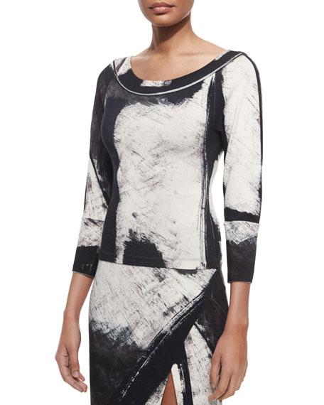 Donna Karan Printed 3/4-Sleeve Top