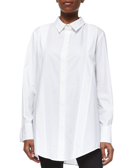 Donna Karan Tailored Cotton Poplin Tunic, White