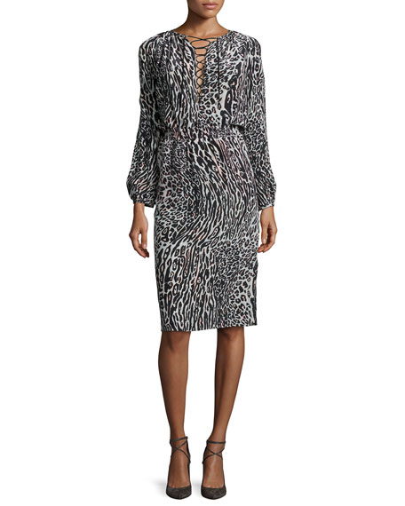 Altuzarra Long-Sleeve Leopard-Print Silk Dress