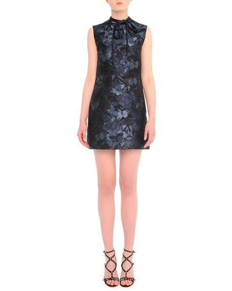 Valentino Butterfly-Print Tie-Neck Dress