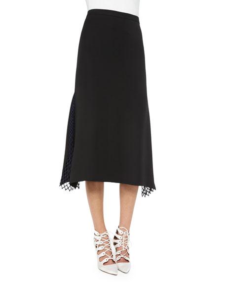 Adam Lippes Lace-Insert Midi Skirt, Black/Navy