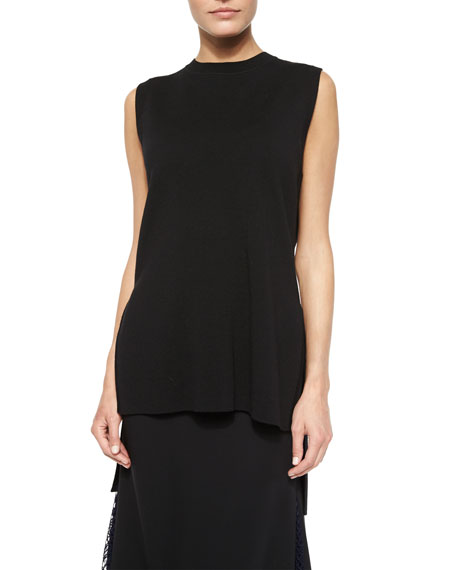 Adam Lippes Side-Slit Wool Crewneck Tunic