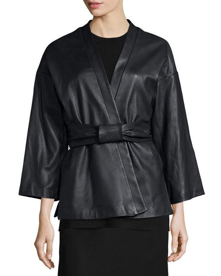 adam lippes leather kimono jacket w belt