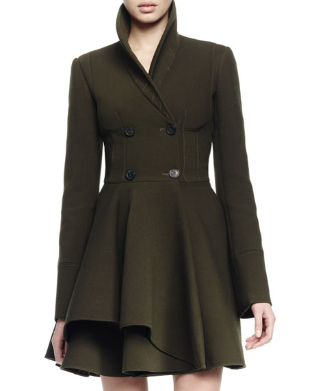 Alexander McQueen Asymmetric Fit-and-Flare Coat