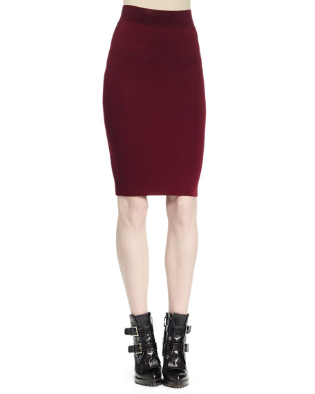 Alexander McQueen Ottoman Knit Pencil Skirt, Bordeaux