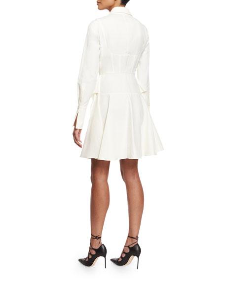 Pique-Knit Peplum-Skirt Dress