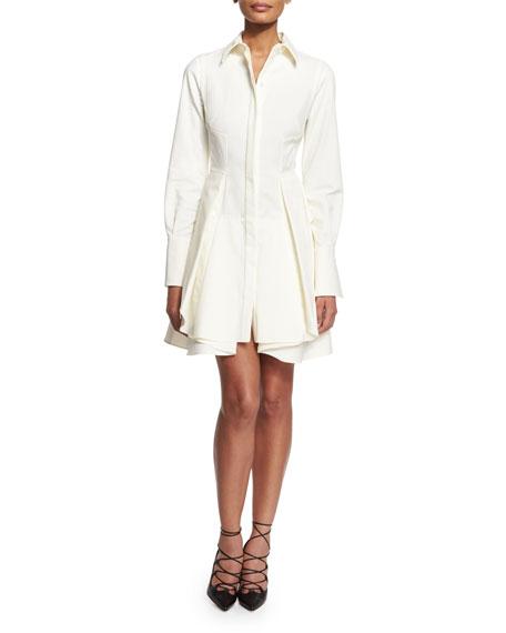 Alexander McQueen Pique-Knit Peplum-Skirt Dress