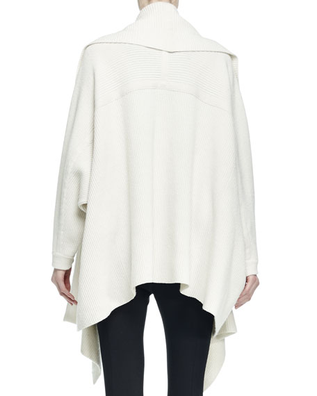 Wool-Blend Open Draped Poncho