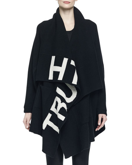 Alexander McQueen Wool-Blend Truth-Print Draped Knit Poncho