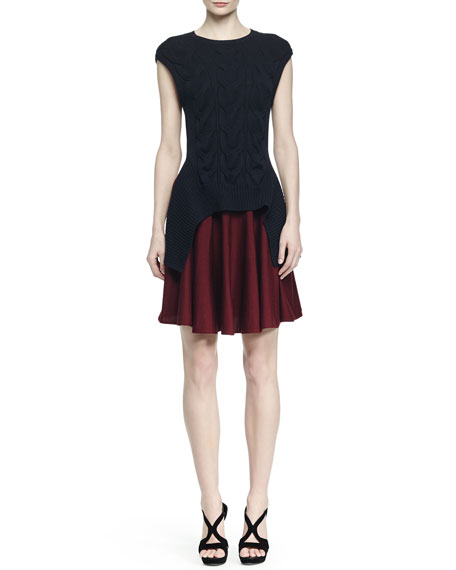 Alexander McQueen Colorblock Cable-Knit Layered Dress