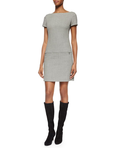 Short-Sleeve Houndstooth Sheath Dress