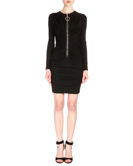 Givenchy Ring-Pull Zip-Front Ruched Dress