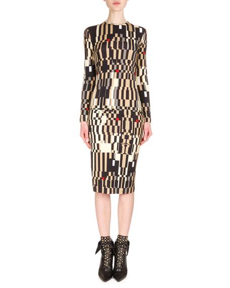 Givenchy Long-Sleeve Optical Illusion-Print Sheath Dress