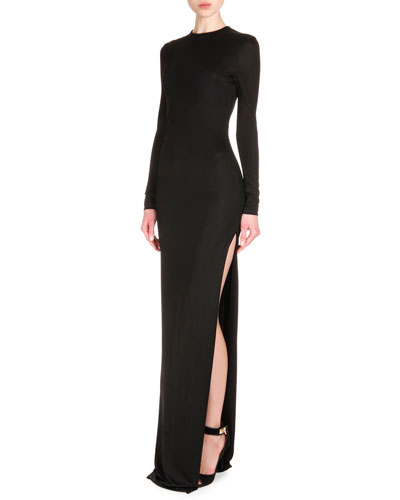 Long-Sleeve High-Slit Jersey Column Dress