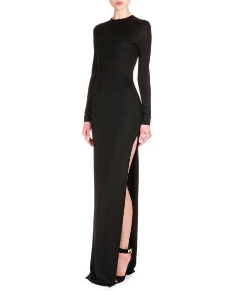 Long-Sleeve High-Slit Jersey Column Dress