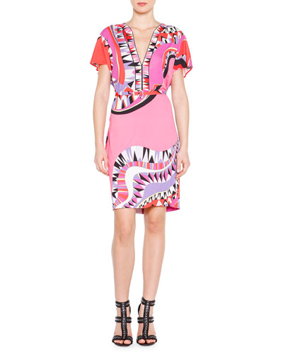 Kaleidoscope-Print Belted Dress