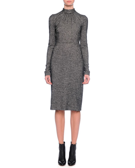Dolce & Gabbana Long-Sleeve Mock-Neck Sheath Dress