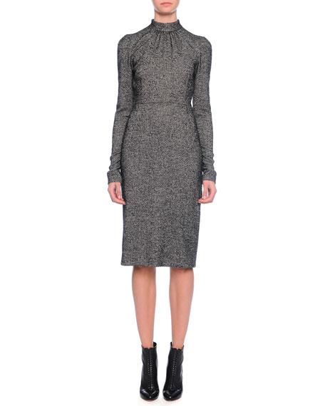 Dolce & Gabbana Long-Sleeve Mock-Neck Sheath Dress