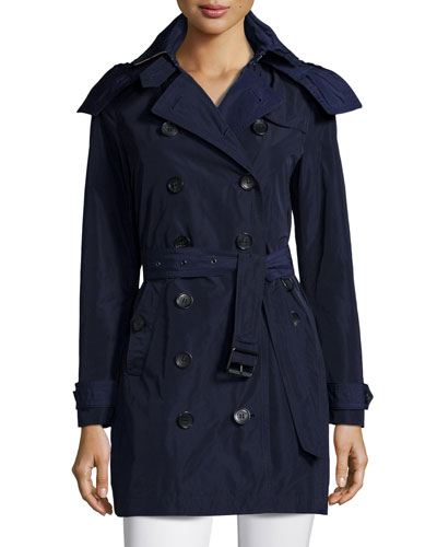 Mid-Length Tench Coat W/Hood