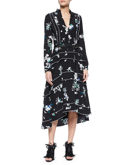 Proenza Schouler Ruffle-Tiered Floral-Print Midi Dress
