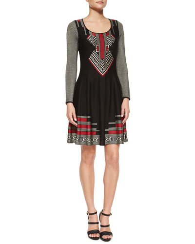 Long-Sleeve Geometric Knit Flared Dress
