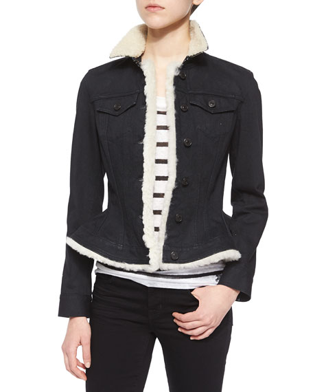 Burberry Brit Poklington Fur-Trim Wasp-Waist Denim Jacket