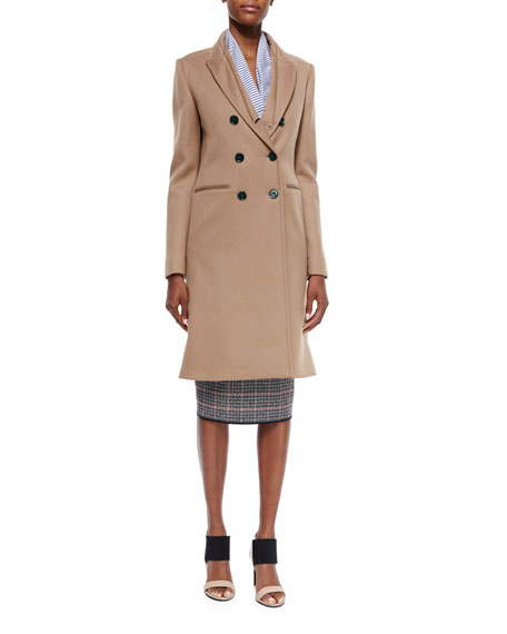 Double-Breasted Wool Twill Coat