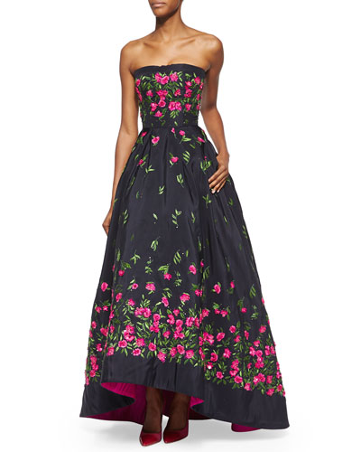 Strapless Floral-Embroidered High-Low Gown