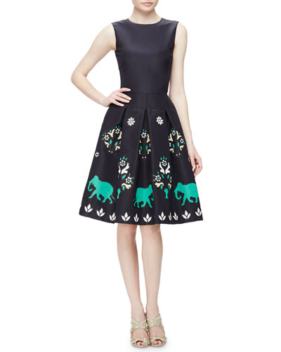 Jewel-Neck Sleeveless Elephant Embroidered Dress, Navy