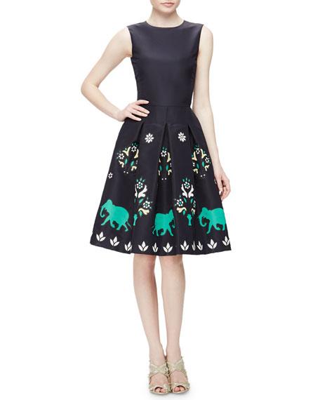 Oscar de la Renta Jewel-Neck Sleeveless Elephant Embroidered Dress, Navy