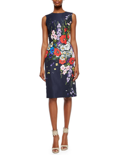 Mixed Flower-Print Sheath Dress