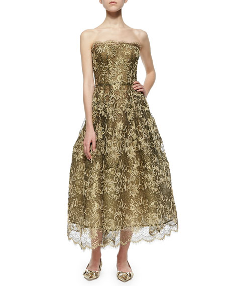 Oscar de la Renta Scalloped Floral Lace Fit-And-Flare
