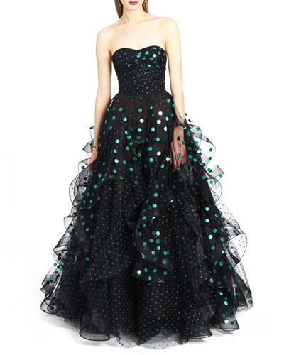 Strapless Sweetheart Polka-Dot Gown